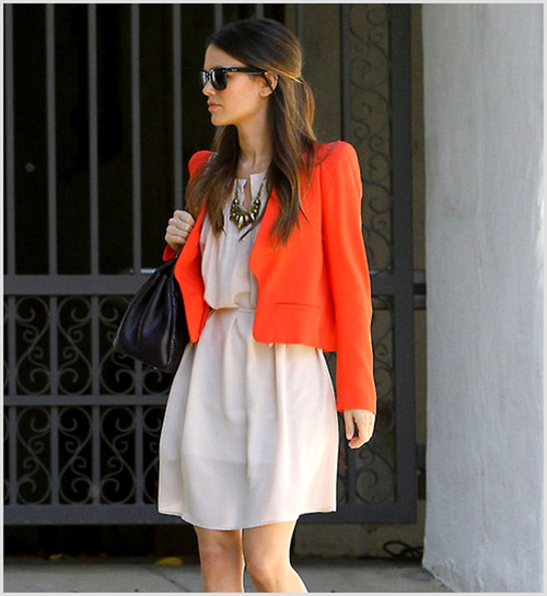 rachel-bilson-beige-dress-orange-jacket-