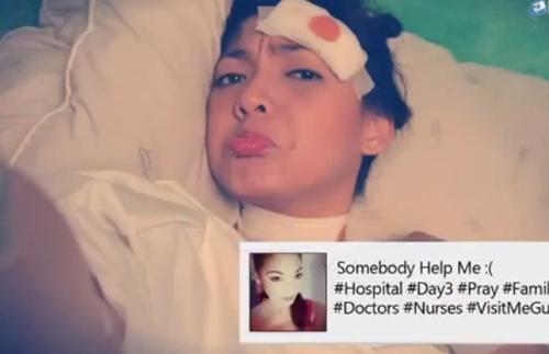 Vào bệnh viện, hot girl vẫn không từ bỏ thói quen khiến mình bị tai nạn.