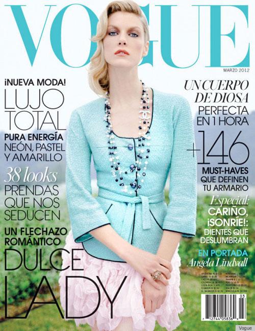 Ngay cả trên trang bìa của tạp chí Vogue đình đám, siêu mẫu Angela Linvdall
