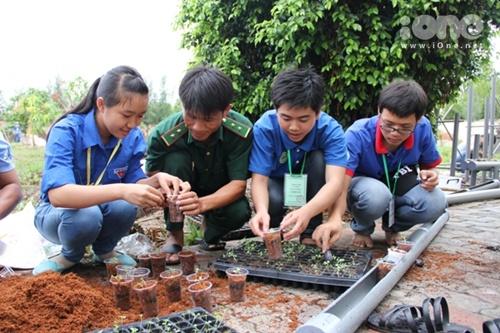 Nhóm bạn đang hướng dẫn bộ đội biên phòng trồng và lắp đặt giàn rau thuỷ canh.