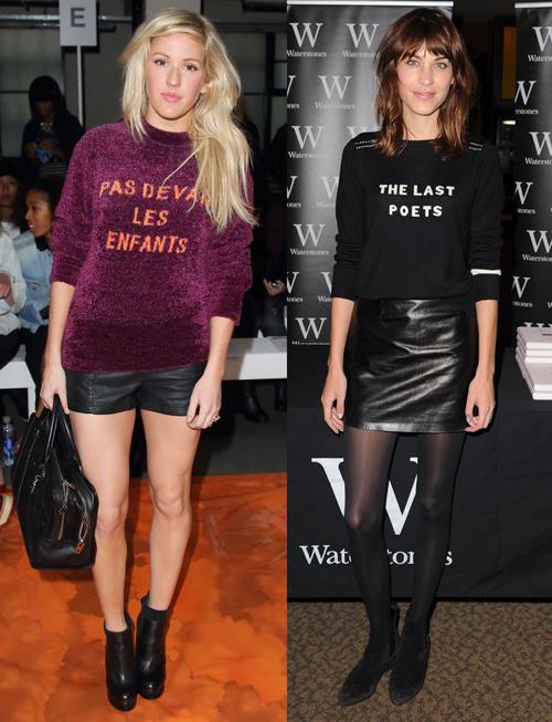 Những chiếc áo len in slogan là món đồ được Ellie Goulding và Alexa Chung yêu thích, cả hai