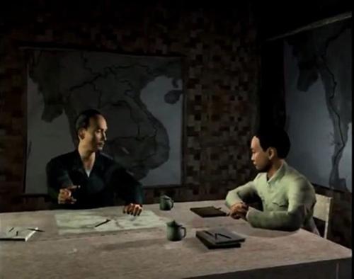 Cảnh Đại tướng Võ Nguyên Giáp và Hồ Chủ tịch bàn kế hoạch chiến dịch Điện Biên trong phim ngắn. Ảnh chụp màn hình.