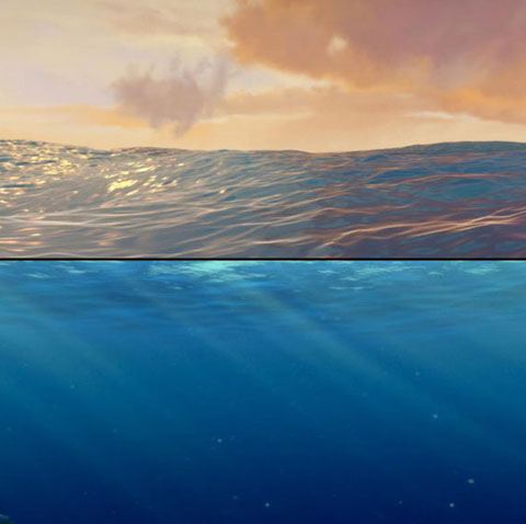 Các chuyên gia của hãng Pixar đã biến bề mặt đại dương thật sang chế độ hình ảnh trông giả hơn để người xem không phát hiện ra đó là cảnh quay thực sự của bề mặt đại dương.