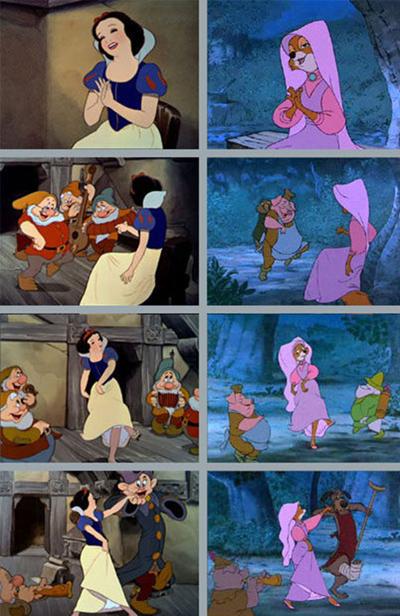 Nhằm tiết kiệm ngân sách, các điệu nhảy trong Bạch Tuyết và Bảy chú lùn (1937) và Robin Hood (2010)  đã được làm lại giống nhau, chỉ khác bề ngoài của các nhân vật là Bạch Tuyết và Maid Marion.