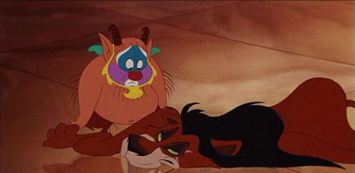Trong phim Dũng sĩ Hercules (1997),  Phil,  nhân vật chuyên đào tạo các kỹ năng anh hùng đã dùng miếng da sư tử để khoác lên mình, miếng da đó  từng thuộc về người chú Scar  trong Vua sư tử.