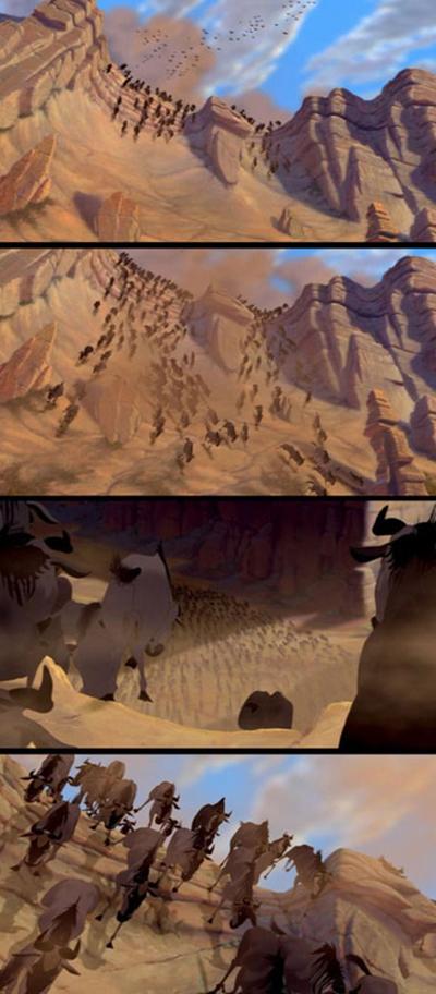 Để vẽ cảnh đàn linh dương đầu bò chạy tán loạn trong phim Vua Sư tử không bị giẫm đạp vào nhau và mang phần sinh động, bộ phận hình ảnh của hãng Disney đã phải mất đến ba năm mới hoàn thành xong cảnh tượng hùng vĩ này.