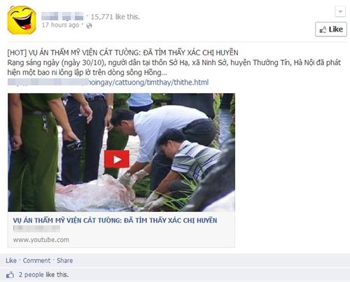 Thông tin giả này cùng liên kết câu like được đăng trên khá nhiều fanpage. Ảnh chụp màn hình.
