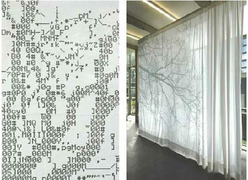 Mềm mại, nhẹ nhàng với rèm cửa chất liệu lụa có in hình cây in bóng.
