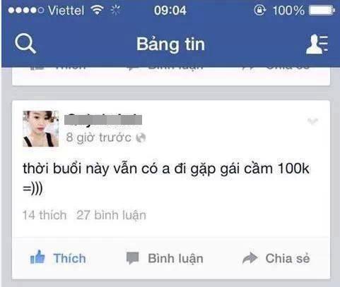 Cô gái mỉa mai chỉ trích chàng trai hẹn hò chỉ với 100k trong người. Ảnh: FB