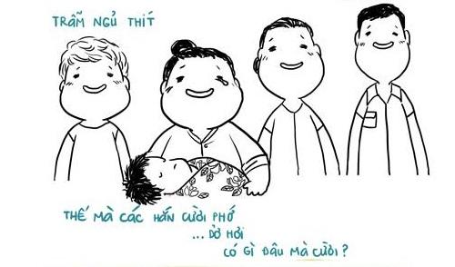 Hạnh phúc của gia đình tác giả khi bé Đậu Đậu chào đời. Ảnh: FB