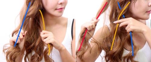 Chia tóc ra làm bồn phần và bắt đầu các bước như trong hình