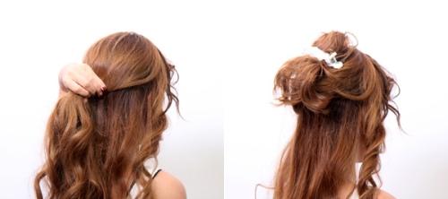 Để thực hiện kiểu tóc này, đầu tiên bạn hãyChia tóc thành hai phần sau đó dung kẹp tóc giữ lại phần tóc phía trên.