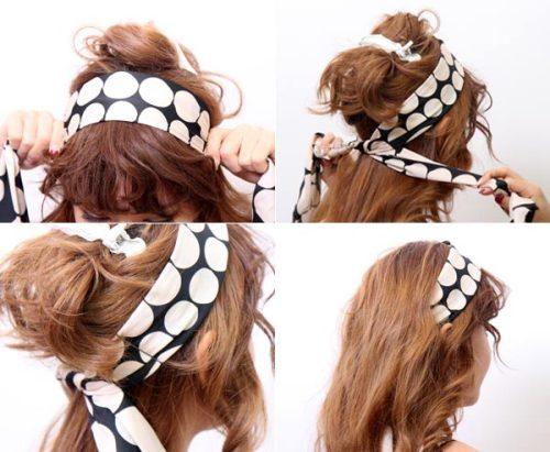 voan họa tiết gấp đôi buộc vòng qua rồi thả tóc xuống.