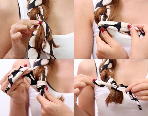 Chia tóc làm hai phần và dùng hai đầu dây của khăn để tết tóc. Dùng chính phần khăn còn lại buộc phần đuôi tóc là bạn đã hoàn thành.