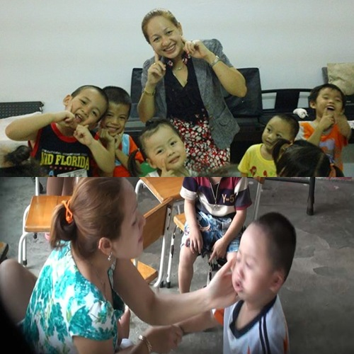 Hình ảnh trái ngược của bảo mẫu Đông Phước trên Facebook và khi cho trẻ ăn trưa. Ảnh: FB.