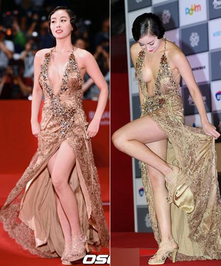 Chiếc váy khoét sâu ngực không che nổi vòng một của Han Soo Ah. Tuy vạt váy dài nhưng lại được xẻ rộng để nữ diễn viên khoe đùi tối đa.