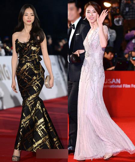 Lee Yeon Hee lọt top mặc đẹp năm nay nhờ hai trang phục khoe dáng thon ấn tượng. Nữ diễn viên sải bước kiêu kỳ với chiếc váy phối đen - vàng ánh kim và thướt tha trong bộ váy trắng đính sequin lấp lánh.