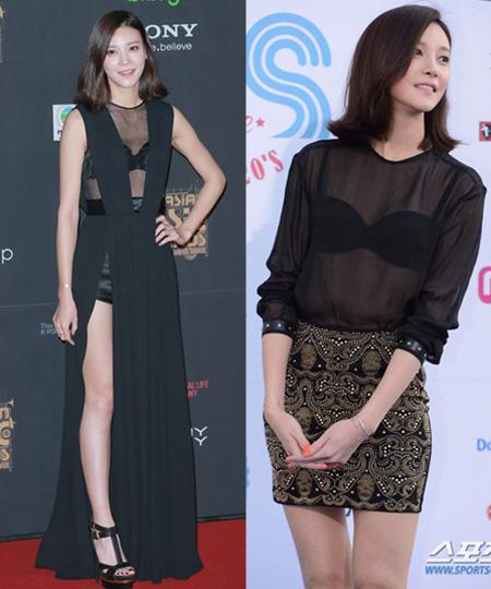 Nữ diễn viên Cha Ye Ryun có phong cách gợi cảm táo bạo nhưng không vô duyên. Cô lựa chọn áo xuyên thấu khoe nội y kết hợp váy xẻ cao và váy ngắn trên thảm đỏ Mnet Asian Music Awards (trái) và Mnet 20's Choice Awards.