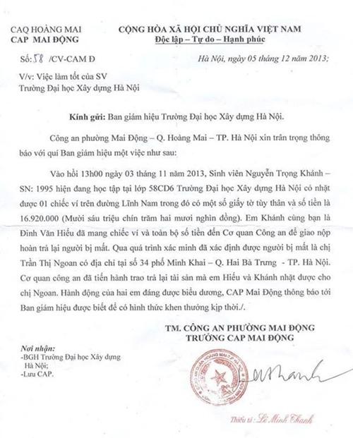 Tờ thông báo về việc làm tốt của sinh viên Nguyễn Trọng Khánh. Ảnh: FB.