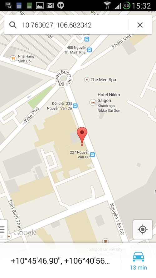Thông tin được hiển thị trên Google Map.