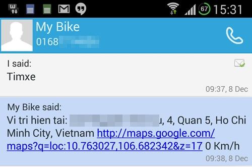 [Caption]Sau khi lắp ráp thiết bị S-Bike Pro, mọi thông tin về chiếc xe máy của người dùng sẽ được thể hiện rất cụ thể