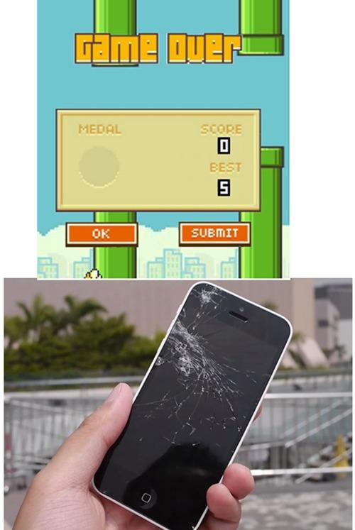 Nhiều dân mạng đăng hình chế màn hình điện thoại bị vỡ và cho rằng Flappy Bird có một sức hút lớn đến mức khiến người chơi có thể... ấn vỡ màn hình.