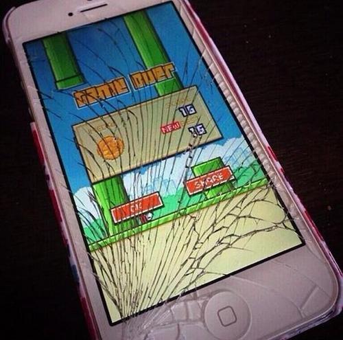 Một chiếc smartphone chịu chung số phận khi đạt đến 15 điểm trong trò Flappy Bird.