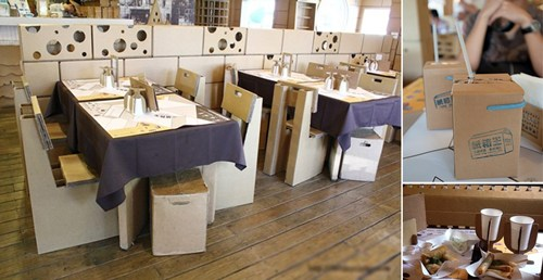 Bàn ghế, ly, chén dĩa, menu& đều được làm từ bìa cạc tông.