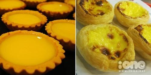 Khác biệt dễ nhận thấy giữa bánh trứng kiểu Hồng Kông (trái) và kiểu Tây Ban Nha chính là vỏ bánh.