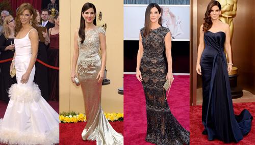 Năm 2004, Sandra Bullock lãng mạn trong đầm Oscar de la Renta. Sang năm 2010, cô đổi sang phong cách sang trọng với đầm Marchesa. Năm ngoái, Elie Saab