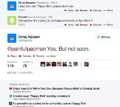 Chủ nhân của chú chim Flappy Bird khẳng định bằng tiếng Anh với người hâm mộ về tình hình của nó. Ảnh chụp từ màn hình.