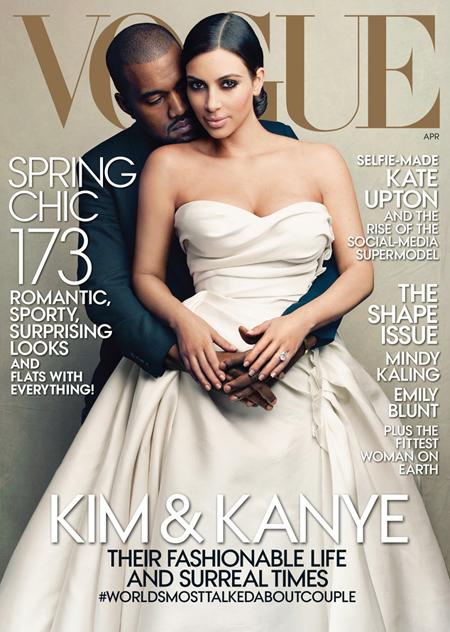 Chủ đề gây tranh cãi mới đây nhất là ảnh bìa Vogue số tháng 4/2014 với sự tham gia của Kim Kardashian và Kanye West.