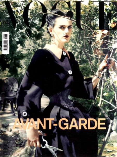 Vogue Italia September 2011 Photographed by Steven Meisel, Stella Tennant teams her Prada coat, nose ring and scissors with a waist corseted to a frightening 13 inches. The styling was an ode to Ethel Granger, the woman with the tiniest waist on earth.