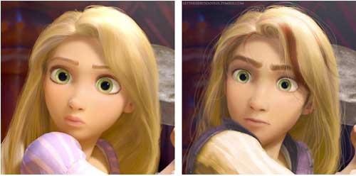 Gương mặt của Rapunzel trong Tangle dù đã chuyển thành nam nhưng dường như không thay đổi nhiều