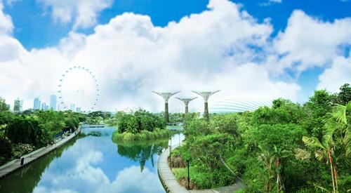 Gardens by The Bay trải dài trên một diện tích rộng lớn 101 ha, gồm 3 khu vườn bờ sông: Bay South Garden, Bay East Garden và Bay Central Garden với hơn 250.000 loài thực vật quý hiếm.
