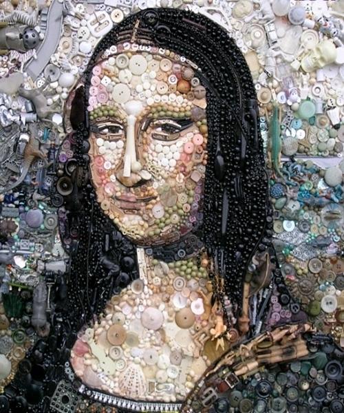 Bức tranh tái hiện tác phẩm hội họa nổi tiếng Nàng Mona Lisa của Leonardo da Vinci.