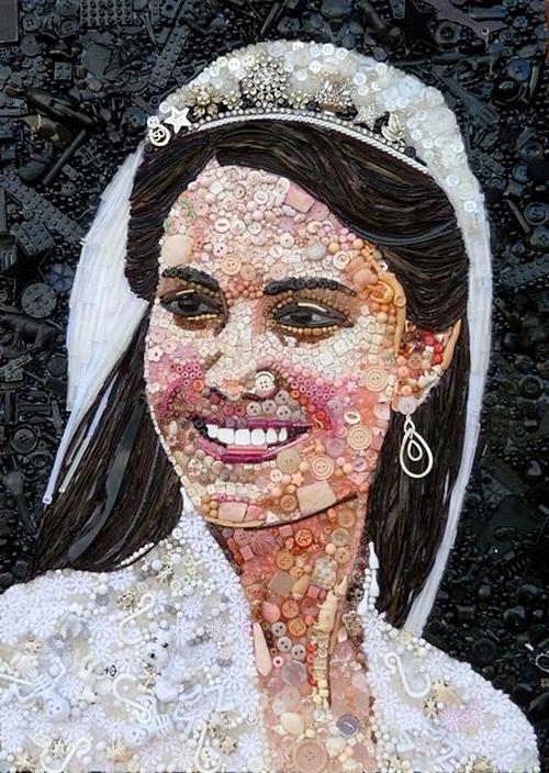 Bức tranh chân dung công nương Kate được thực hiện rất tỉ mỉ.