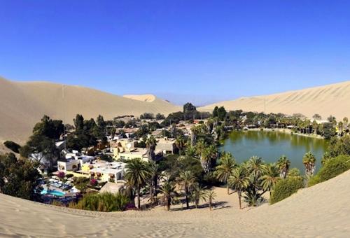 Huacachina là một ngôi làng nhỏ với dân số khoảng 100 người được xây dựng trên một ốc đảo tươi tốt giữa sa mạc Pêru.