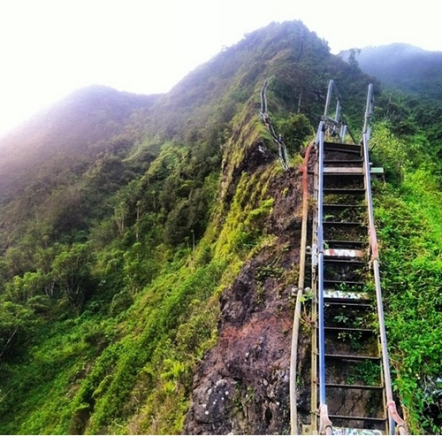 Cầu thang Haiku ở Hawaii, Mỹ được mệnh danh là Nấc thang lên thiên đường. Đến đây vào sáng sớm, bạn sẽ được chiêm ngưỡng cảnh cây cầu chìm trong làn sương mờ ảo.