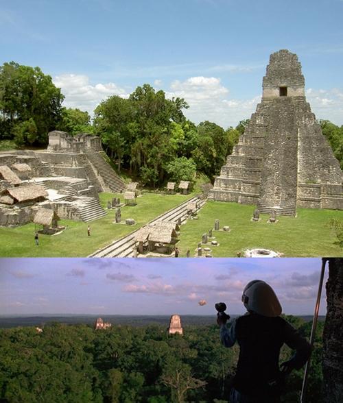 Tikal, thành phố với những ngôi đền cổ kính của người Maya ở Guatemala là từng được chọn để quay nhiều cảnh trong phim Cuộc chiến giữa các vì sao 4 của hãng 20th Century Fox.
