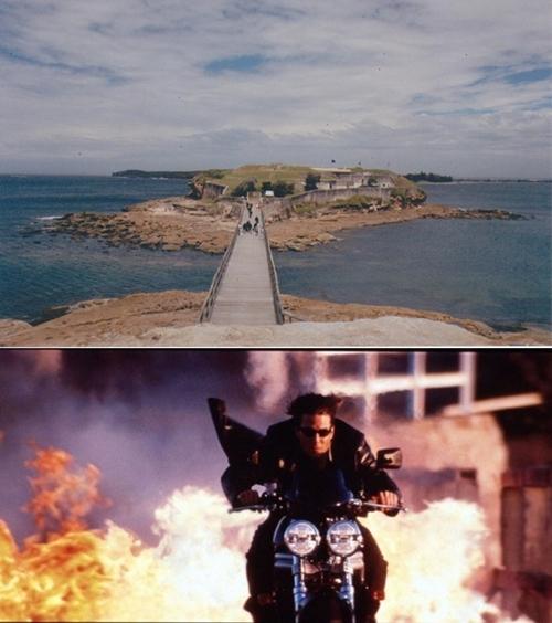 Cảnh nam tài tử Tom Cruise lái xe thoát khỏi biển lửa trong bộ phim Nhiệm vụ bất khả thi 2 được thực hiện trên đảo Bare (Sydney, Úc).
