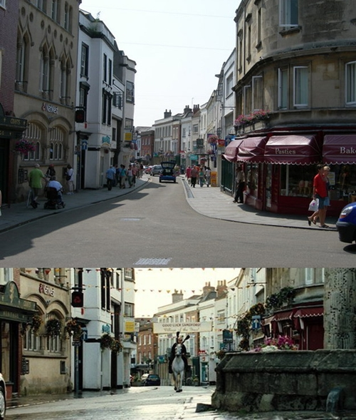 Một cảnh trong phim Siêu cớm được quay trên đường phố Somerset, một hạt nằm ở tây nam nước Anh.