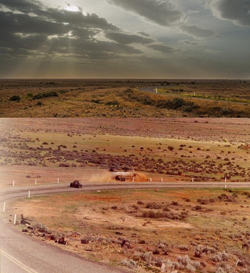 Một cảnh trong phim Chiến binh xa lộ được thực hiện trên con đường lớn ở Silverton, Úc.