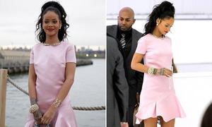 Rihanna dịu dàng bất ngờ với váy hồng