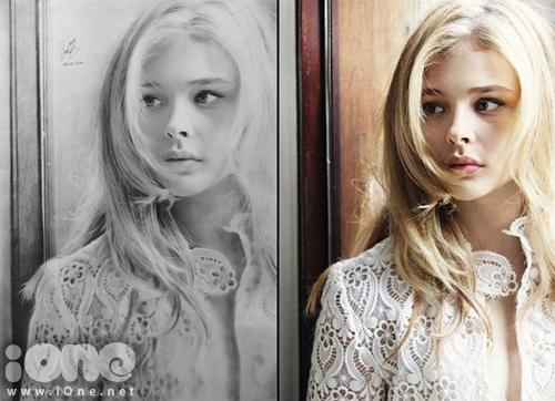 Đây là bức chân dung Chloë Grace Moretz hoàn chỉnh được Sơn Tùng thực hiện trong thời gian hơn 10 giờ. Bạn đánh giá bức tranh này giống bao nhiêu phần trăm so với hình ảnh gốc? Tranh vẽ (trái) và ảnh gốc (phải).