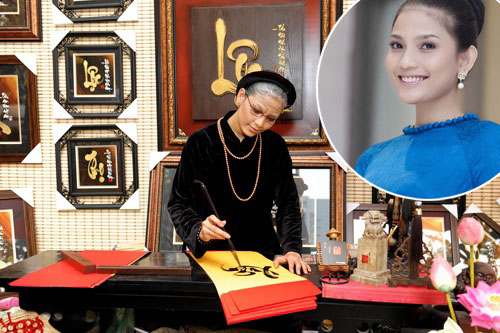 Để thực hiện bộ ảnh Tết đoàn viên năm 2013, Trương Thị May phải mượn áo dài của mẹ, túi xách của ngoại để hóa thân cho ra dáng cụ bà.