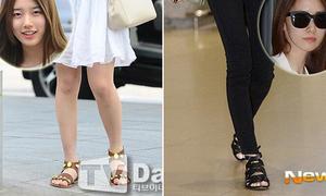 Suzy, Yoon Ah đua nhau diện mốt xăng đan bệt