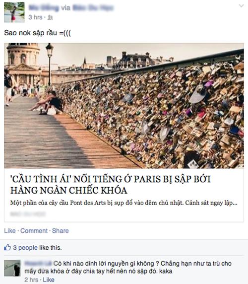 Thông tin về vụ sập cầu được kháo rần rần trên mạng xã hội. Ảnh: FBNV