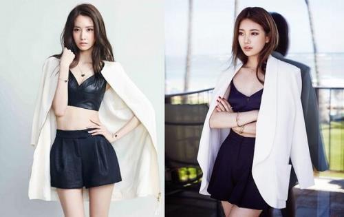 Trên tạp chí tháng 7, Suzy mặc bộ trang phục giống hệt Yoon Ah đã sử dụng trong Marie Claire số tháng 5.