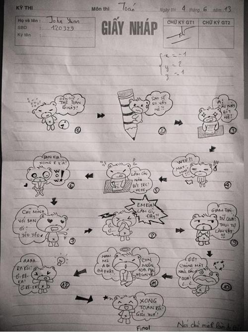 Sự hài hước của học trò được thể hiện sinh động qua những tờ giấy nháp.